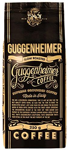 GUGGENHEIMER COFFEE – 500 g Espresso Kaffee GEMAHLEN – Extra langsam geröstet – wenig Säure und Bitterstoffe – Barista-Qualität – Bester Espresso für Espressokocher – Aromabeutel zu 2 x 250 g