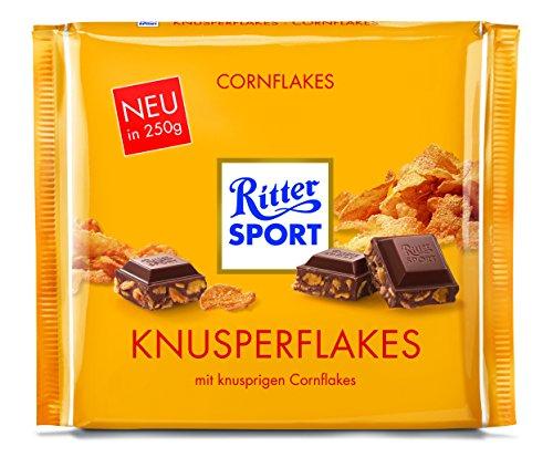 RITTER SPORT 250g Knusperflakes, cremige Sahneschokolade mit Cornflakes, zartschmelzende Knusper-Schokolade, 250g Großtafel