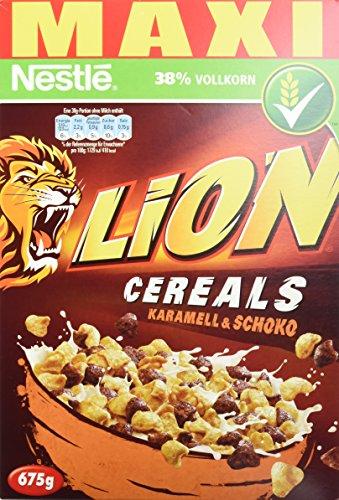 Nestlé Lion Cereals, Karamell und Schoko Cerealien mit Vollkorn, 4er Pack (4 x 675 g)